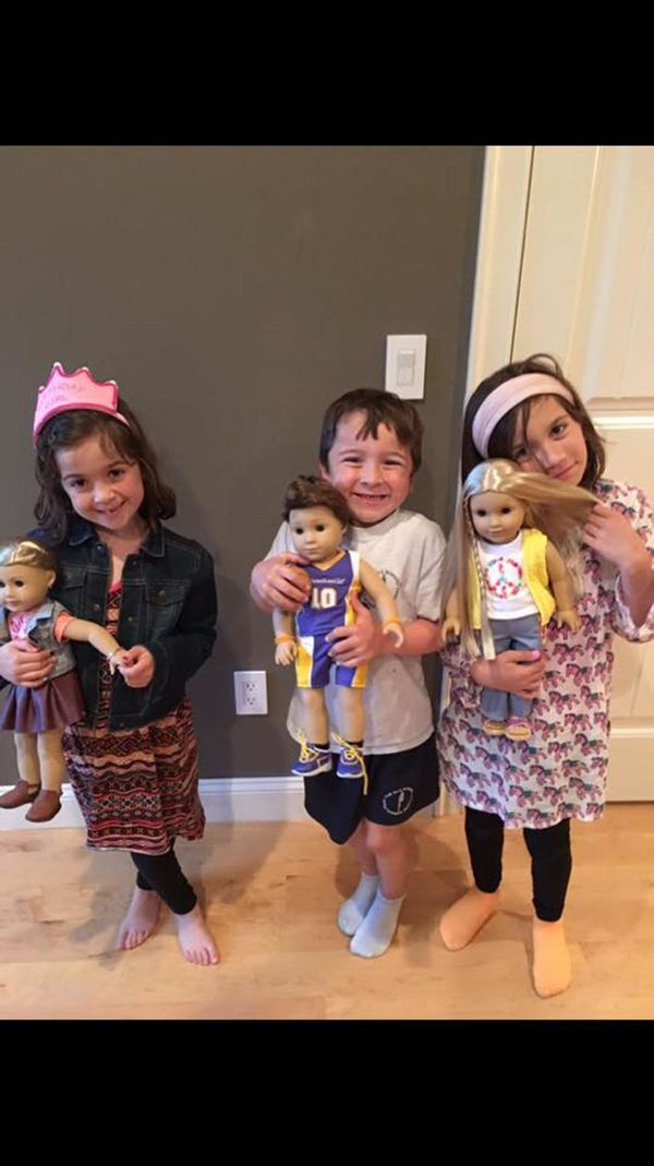 """My son Andy (5) with his American Boy gave him the ability to play dolls with his sisters and play pretend that they normall"