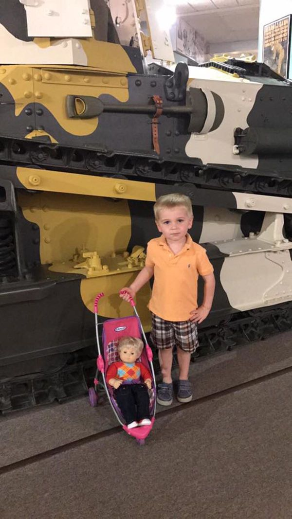 """Jett brought his bitty twin, Toby, along on our field trip to the war museum in Newport News."""