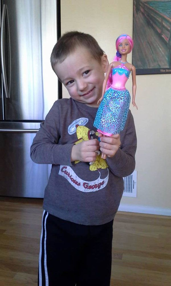 """""""My son has loved all things glitz and glamour since he was 2. This is one of his first Barbies and you can see the pure joy"""