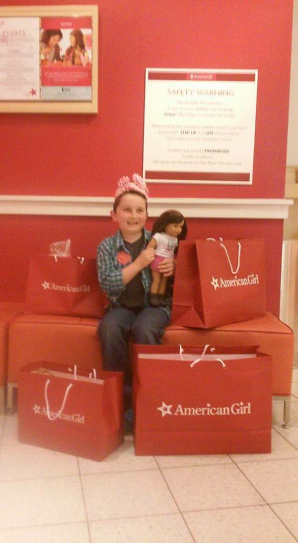 """This is Finn! For his 8th Birthday all he wanted to do was spend a day at the American Girl doll store! It was the most incr"