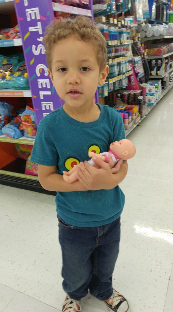 """My son loves one of his sister's friend's baby doll, so when he saw this one at the store he grabbed it and carried it aroun"