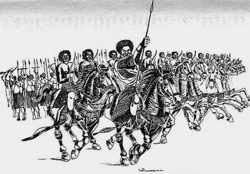 Queen Nzinga of Angola leading her troops in the 1627 charge against the Portuguese army.