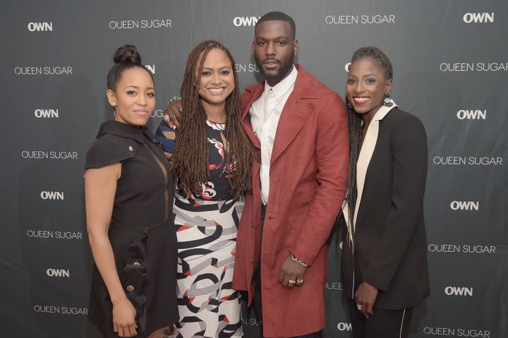 """Ava DuVernay, pictured second from left with some of the cast of """"Queen Sugar,"""" said she and her writers will continue to explore Blue and his doll as he gets older."""