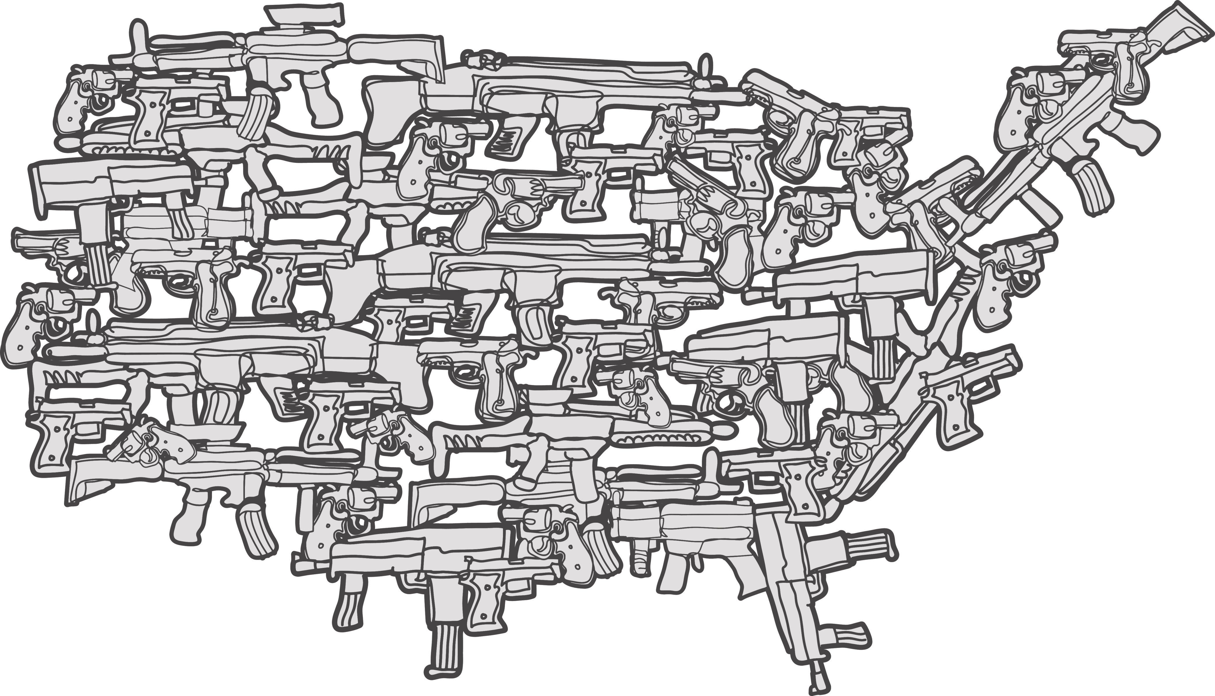 Violence in a America is a hot topic. 'Guns and America' is an art work that does not indorse violence in anyway, but instead speaks to the discussion of guns and violence in american culture.