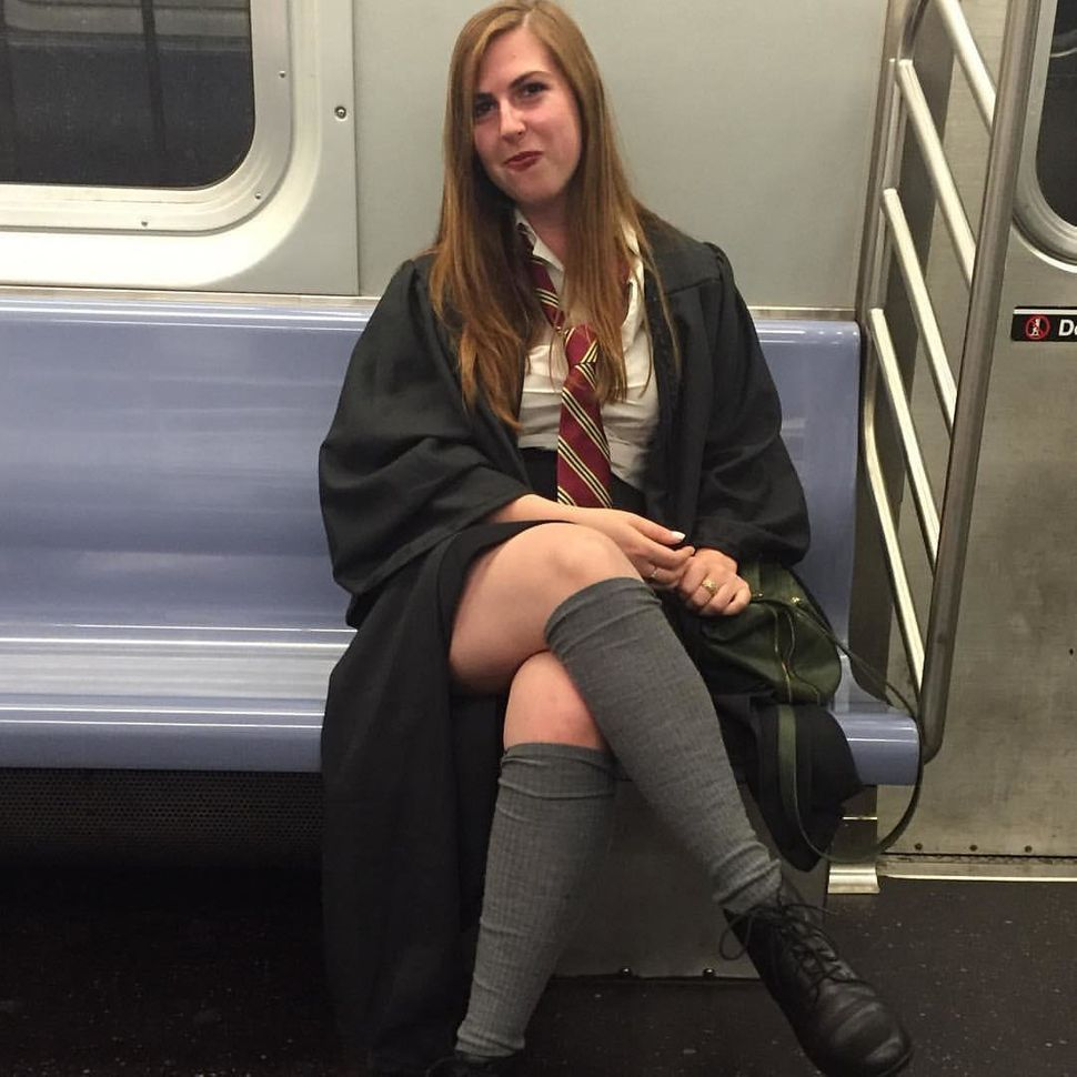 "Sabrina Yurkofsky on her way to ""The Cursed Child"" book release in New York City."