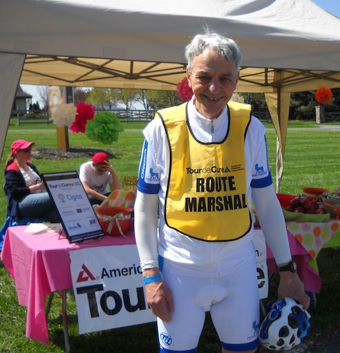 Saul Zuchman, road marshal at the central Maryland Tour de Cure