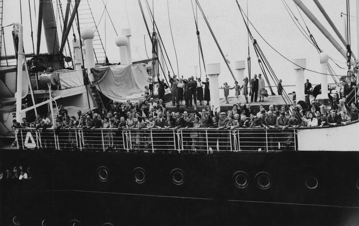 Refugees arrive in Antwerp on the MS St. Louis after over a month at sea, during which they were denied entry to Cuba, the Un