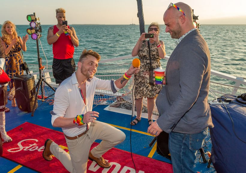 One of the bartenders proposes to his boyfriend on a cruise that opened the 2017 Stoli Key West Cocktail Classic.