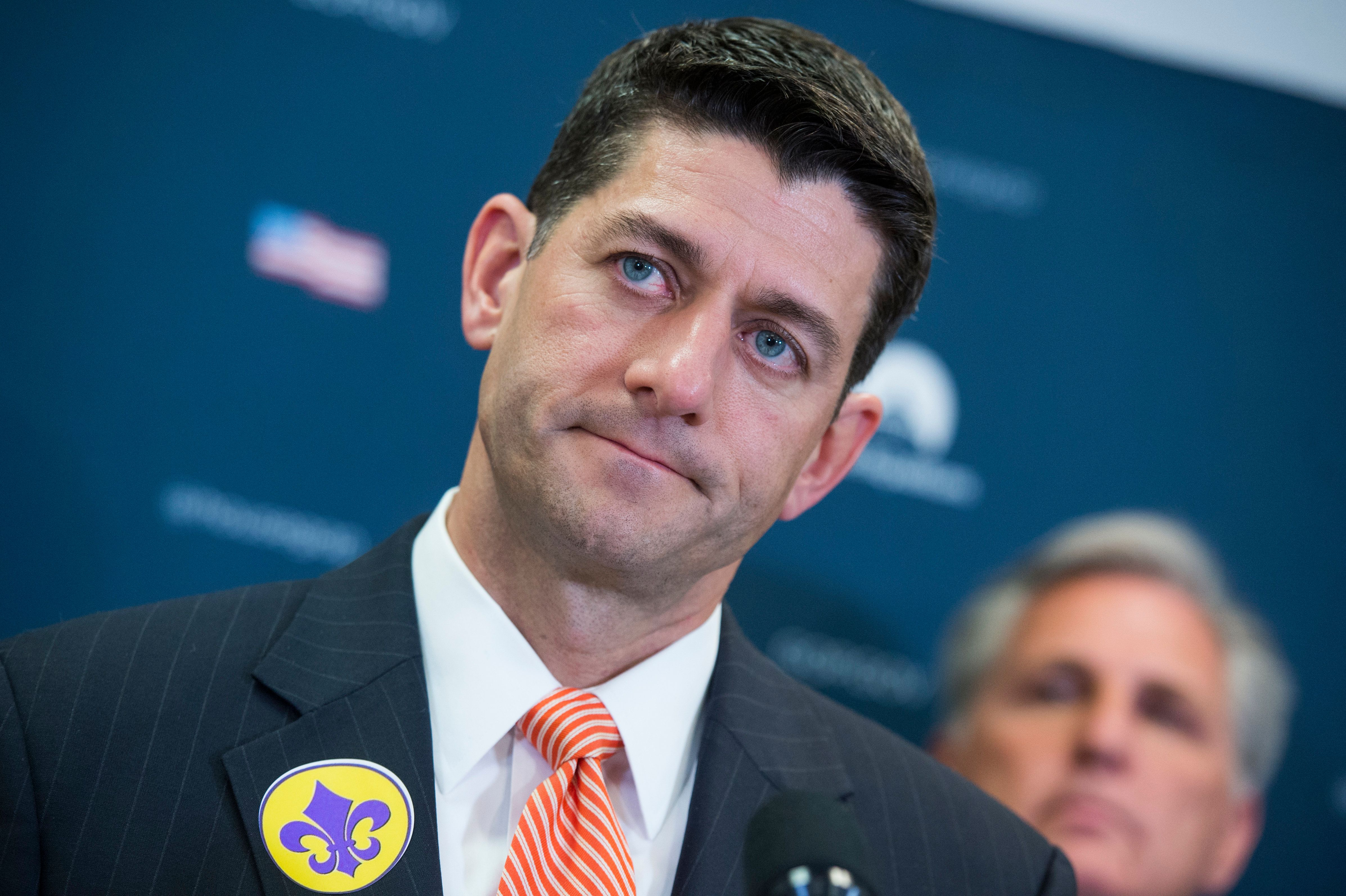 UNITED STATES - JUNE 21: Speaker of the House Paul Ryan, R-Wis., conducts a news conference in the Capitol after a meeting of the House Republican Conference on June 21, 2017. Members wore fleur-de-lis stickers to honor House Majority Whip Steve Scalise, R-La., who was injured in last week's shooting at the Republican baseball practice.(Photo By Tom Williams/CQ Roll Call)
