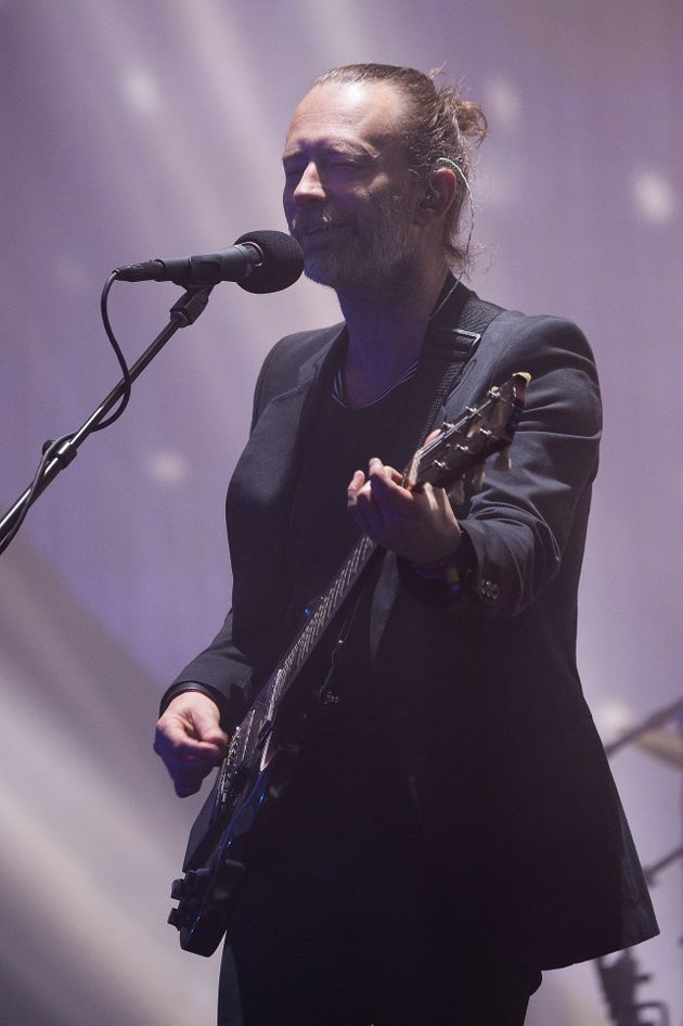 Thom Yorke on stage at