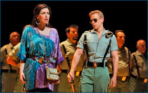 Ellie Dehn (Micaëla) and Edward Nelson (Moralès). SF Opera, 2016