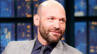 LATE NIGHT WITH SETH MEYERS -- Episode 414 -- Pictured: (l-r) Actor Corey Stoll during an interview with host Seth Meyers on September 7, 2016 -- (Photo by: Lloyd Bishop/NBC/NBCU Photo Bank via Getty Images)