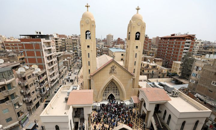 A general view is seen as Egyptians gather by a Coptic church that was bombed in Tanta, Egypt, April 9, 2017.