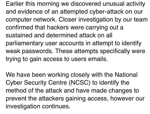 UK Parliament Suffered Confirmed Cyberattack On Friday Night