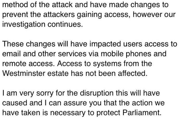 Ninety Parliament email accounts may have been compromised in a cyber attack
