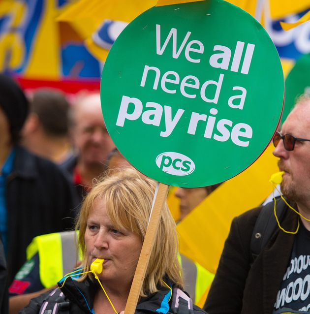 Protestors on 'Britain Needs A Pay Rise' march earlier this