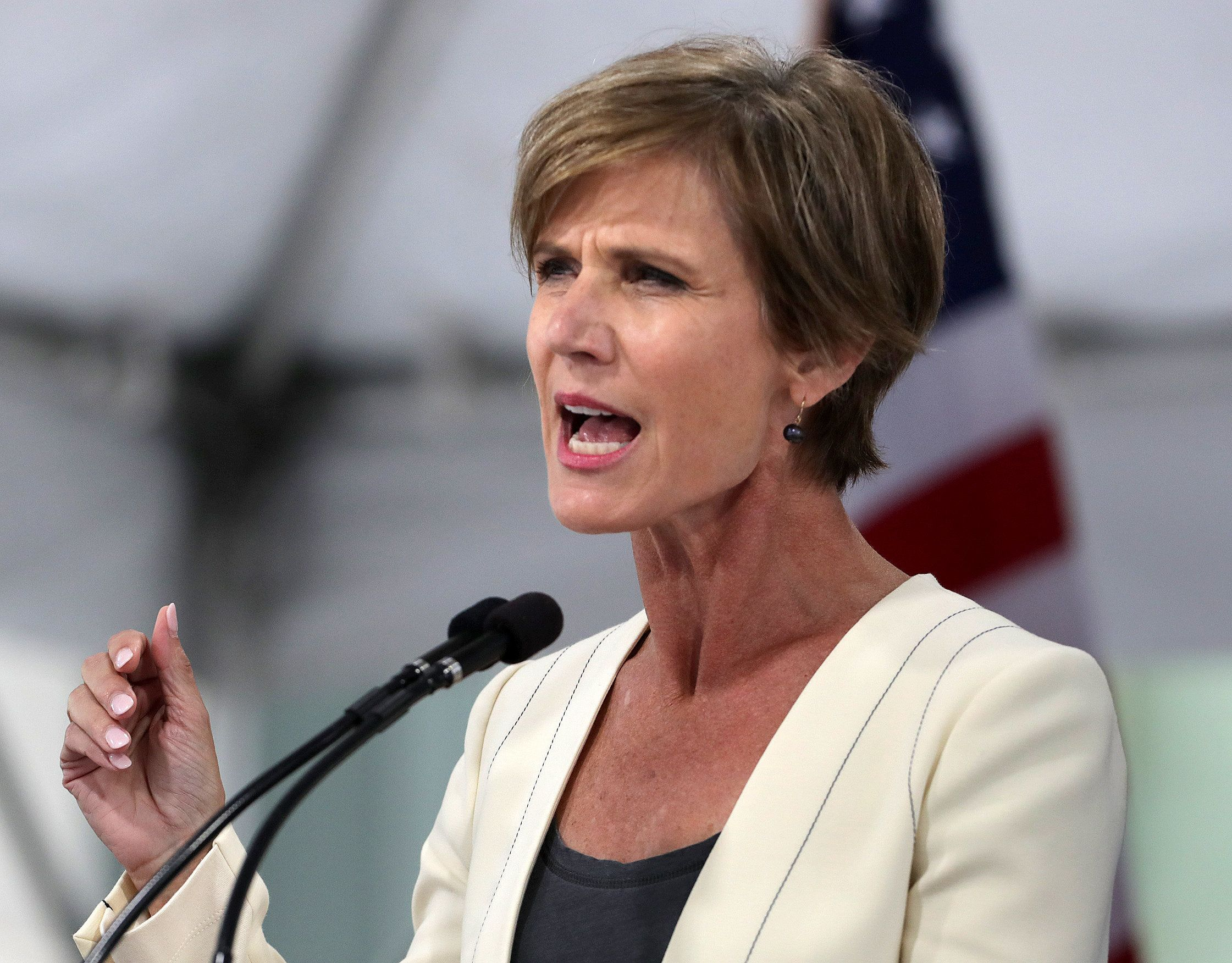 CAMBRIDGE, MA - MAY 24: Former acting US attorney general Sally Yates speaks during the Harvard Law School Class Day celebration at Harvard University in Cambridge, Mass., on May 24, 2017.   (Photo by John Blanding/The Boston Globe via Getty Images)