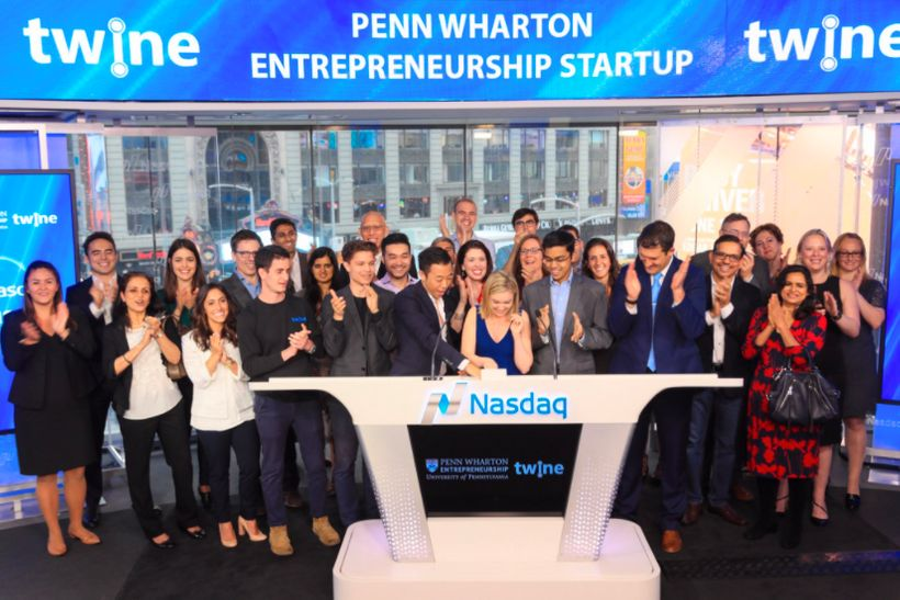The Twine team ringing the closing bell for Nasdaq