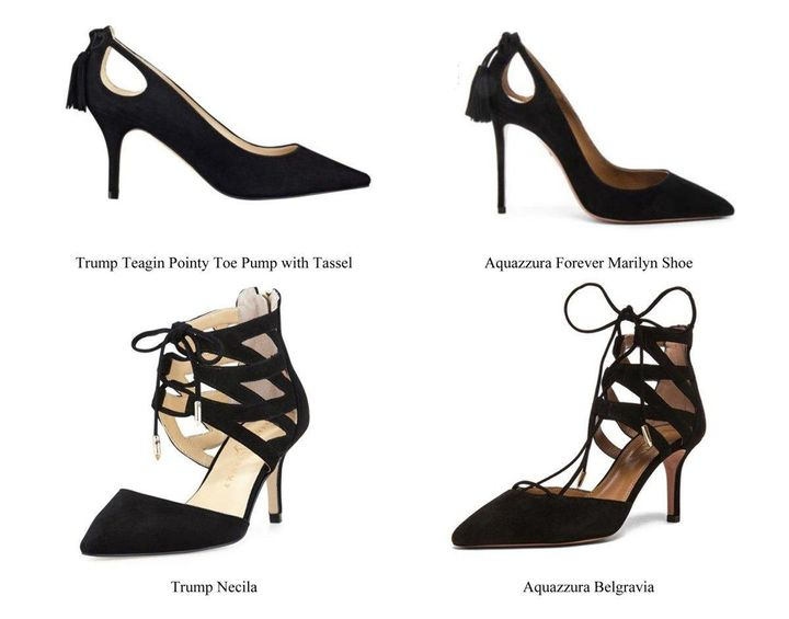 The Aquazzura trademark infringement lawsuit against Ivanka Trump compares other shoes originally designed and manufactured b