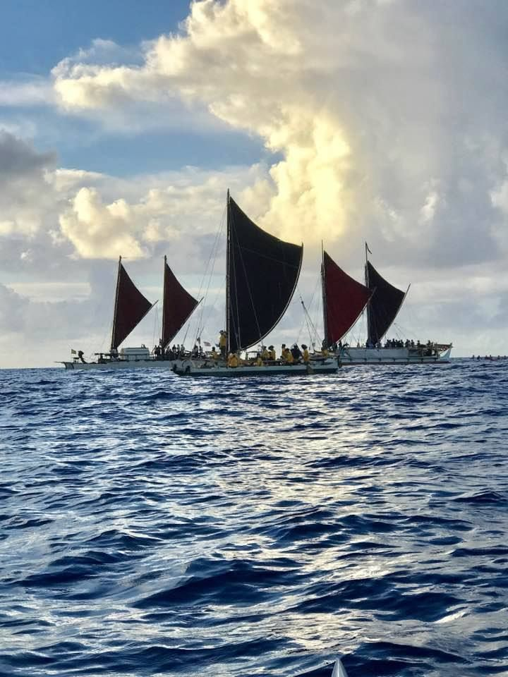 Wānana Pāoa sails alongside  Hōkūle'a and Hikianalia during the final leg of the Mālama Honua Worldwide Voyage on June 17, 20