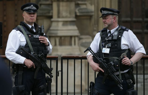 Blackmail fears have been raised after a cyber attack on Parliament; armed officers are pictured above...