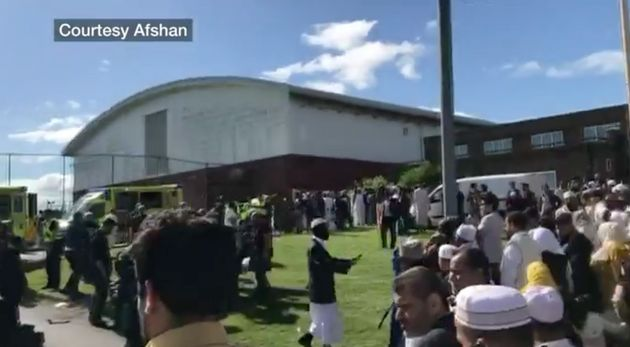 Six people have been injured after a car struck people attending an Eid pray service in