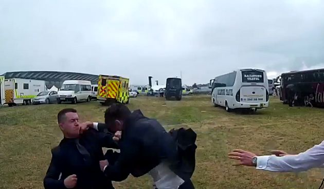 Tommy Robinson has been caught on video fighting another man at Royal