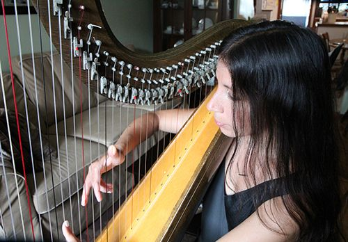 <strong>She finds playing the harp calming and fulfilling.</strong>