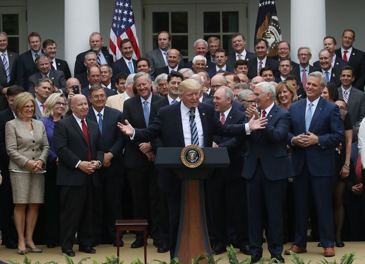 Trump celebrating the passage of the House GOP health care bill on May 4.