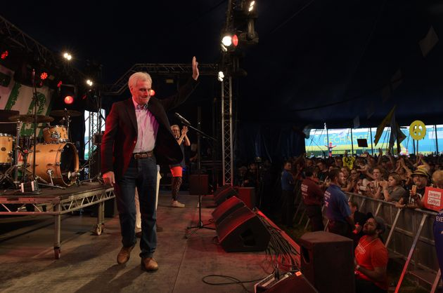 Shadow chancellor John McDonnell after addressing the crowd from the stage at LeftField at Glastonbury