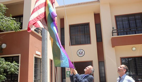 US Consul General Ken Gross raises the LGBT pride flag in Erbil, Iraq.  (June 2017)