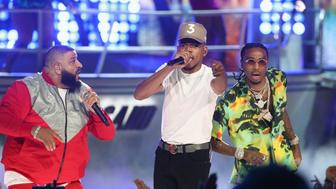 LOS ANGELES, CA - JUNE 25:  (L-R) DJ Khaled,  Chance The Rapper and Quavo of Migos perform onstage at 2017 BET Awards at Microsoft Theater on June 25, 2017 in Los Angeles, California.  (Photo by Frederick M. Brown/Getty Images )