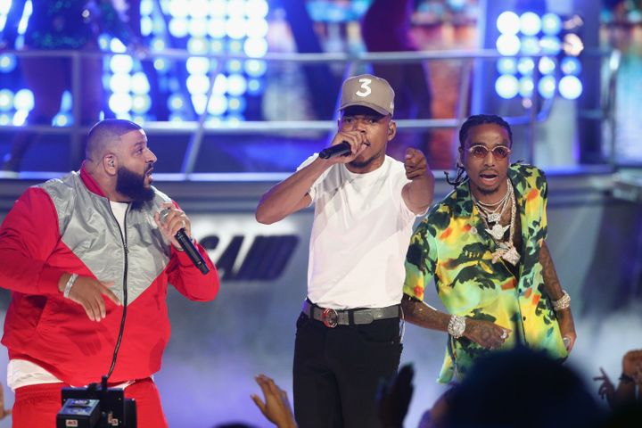 DJ Khaled, Chance The Rapper and Quavo of Migos perform onstage at 2017 BET Awards.