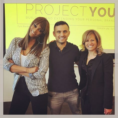 L to R:  Co-lecturer Tyra Banks; Gary Vaynerchuk, CEO Vayner Media & guest speaker; and GSB lecturer Allison Kluger