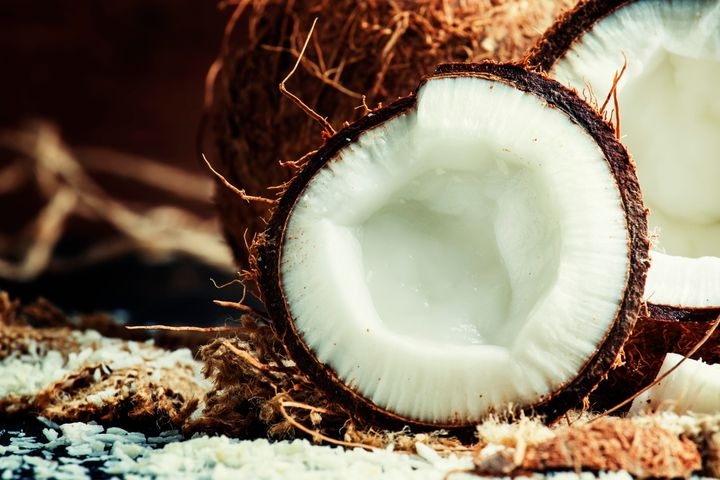 A look inside a mature coconut.