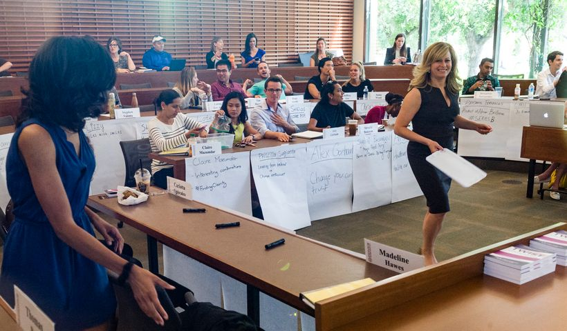 Kluger interacts with Stanford GSB students during classroom activity