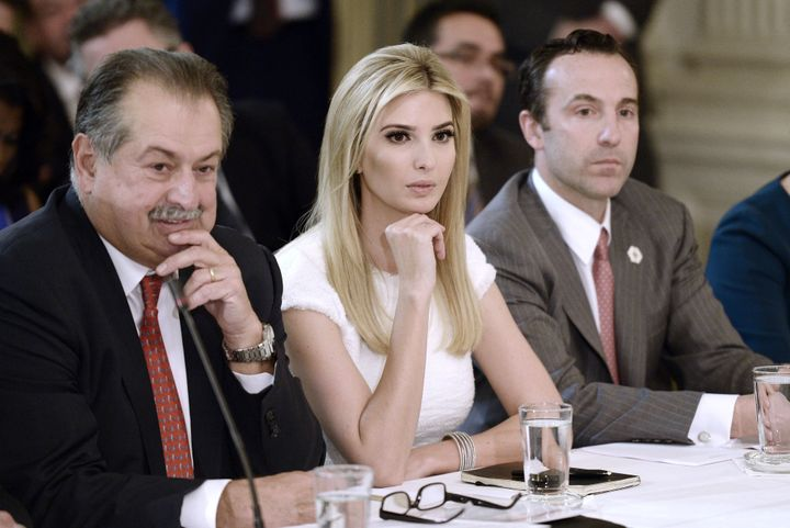 Andrew Liveris, chairman and chief executive officer of Dow Chemical, with Ivanka Trump and Reed Cordish, White House assista
