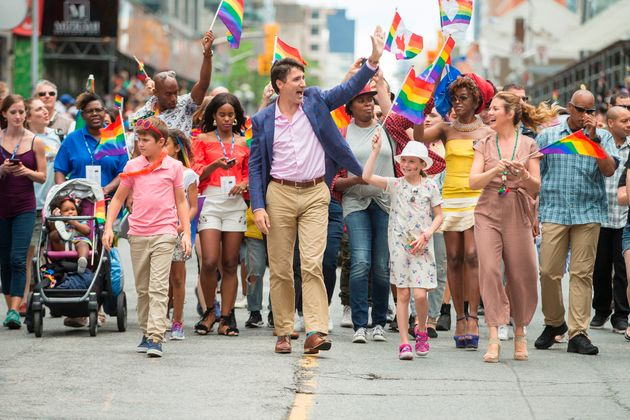 Here's A Bunch Of Pics Of Justin Trudeau Marching At Toronto Pride Because...