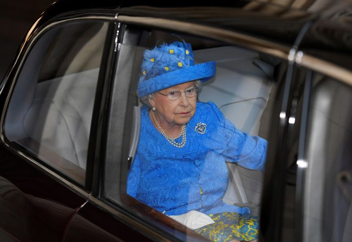 Queen Elizabeth II leaves after the State Opening of Parliament at the House of Lords at the Palace of Westminster on June 21 in London, United Kingdom.