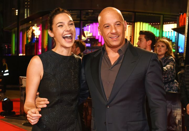 Gal Gadot (L) and Vin Diesel attend the UK Premiere of 'The Last Witch Hunter' at Empire Leicester Square on October 19, 2015