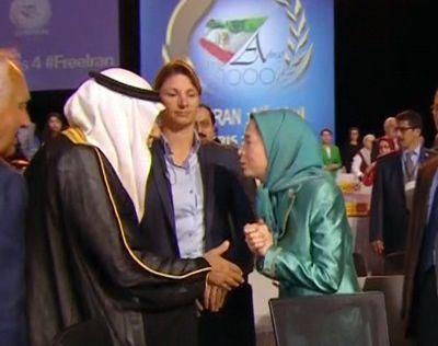 <strong>Maryam Rajavi greets Saudi's Prince Turki al-Faisal at last year's Villepinte show</strong>