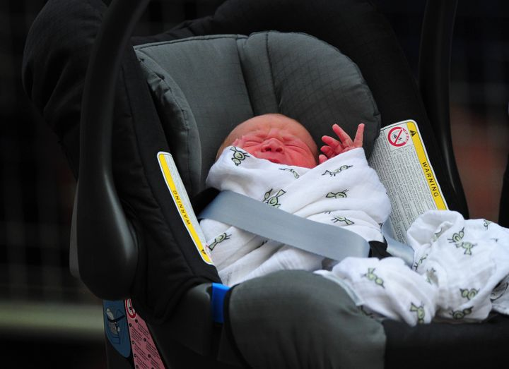 Prince George leaving the Lindo Wing of St. Mary's Hospital in London on July 23, 2013.