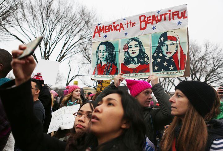 Protesters at an anti-Trump marchin Washington, D.C. Jan. 21.