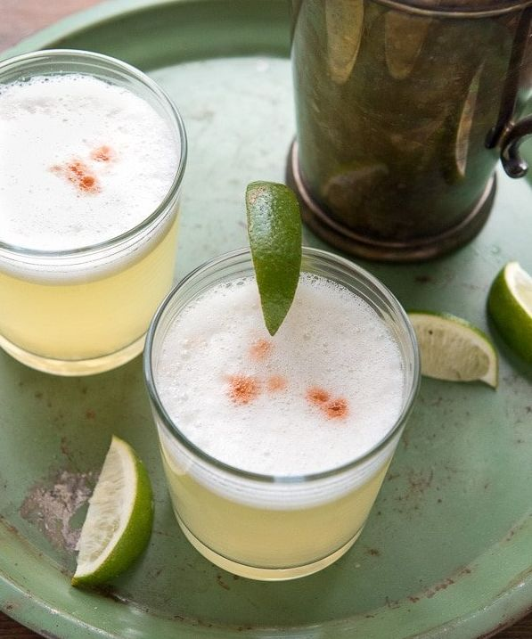 This tart and sweet cocktail is made with egg whites ― that's what gives it that great white, frothy head ― and Pisco,