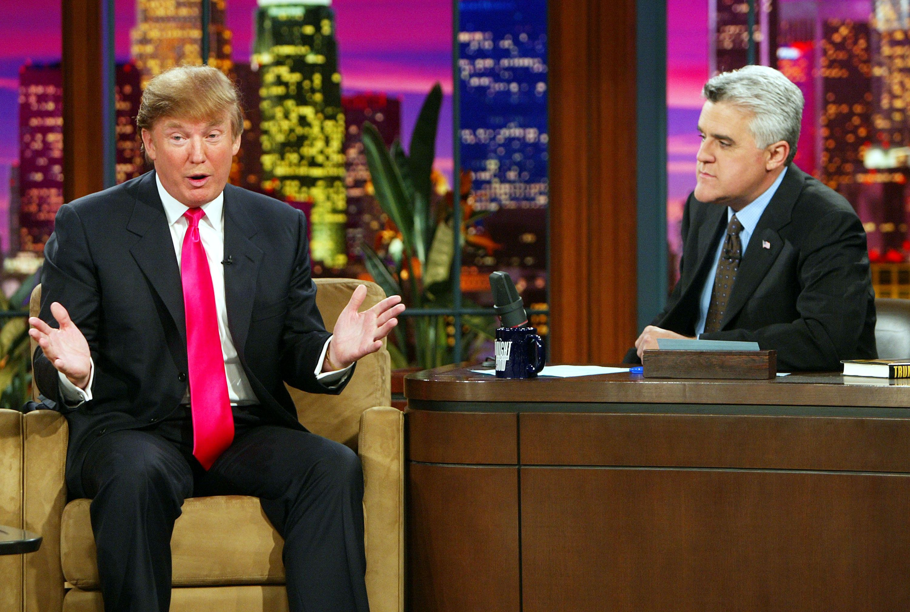 Donald Trump (L) appears on 'The Tonight Show with Jay Leno' at the NBC Studios on April 7, 2004 in Burbank, California.