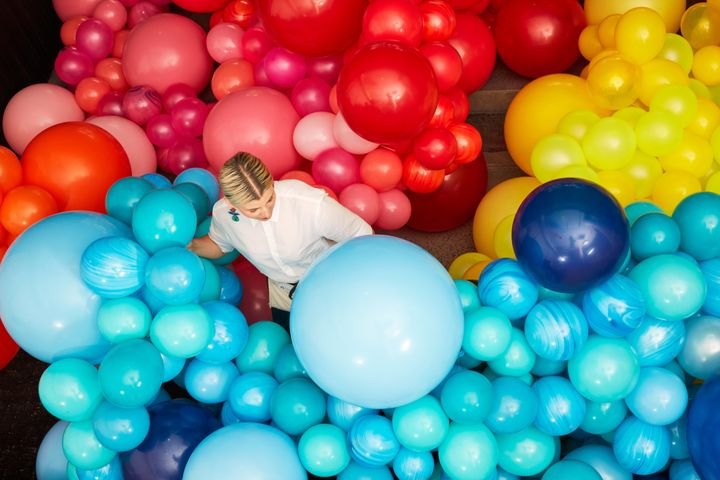 The organic balloons used in Zencirli's display are biodegradable and 100 percent recyclable.