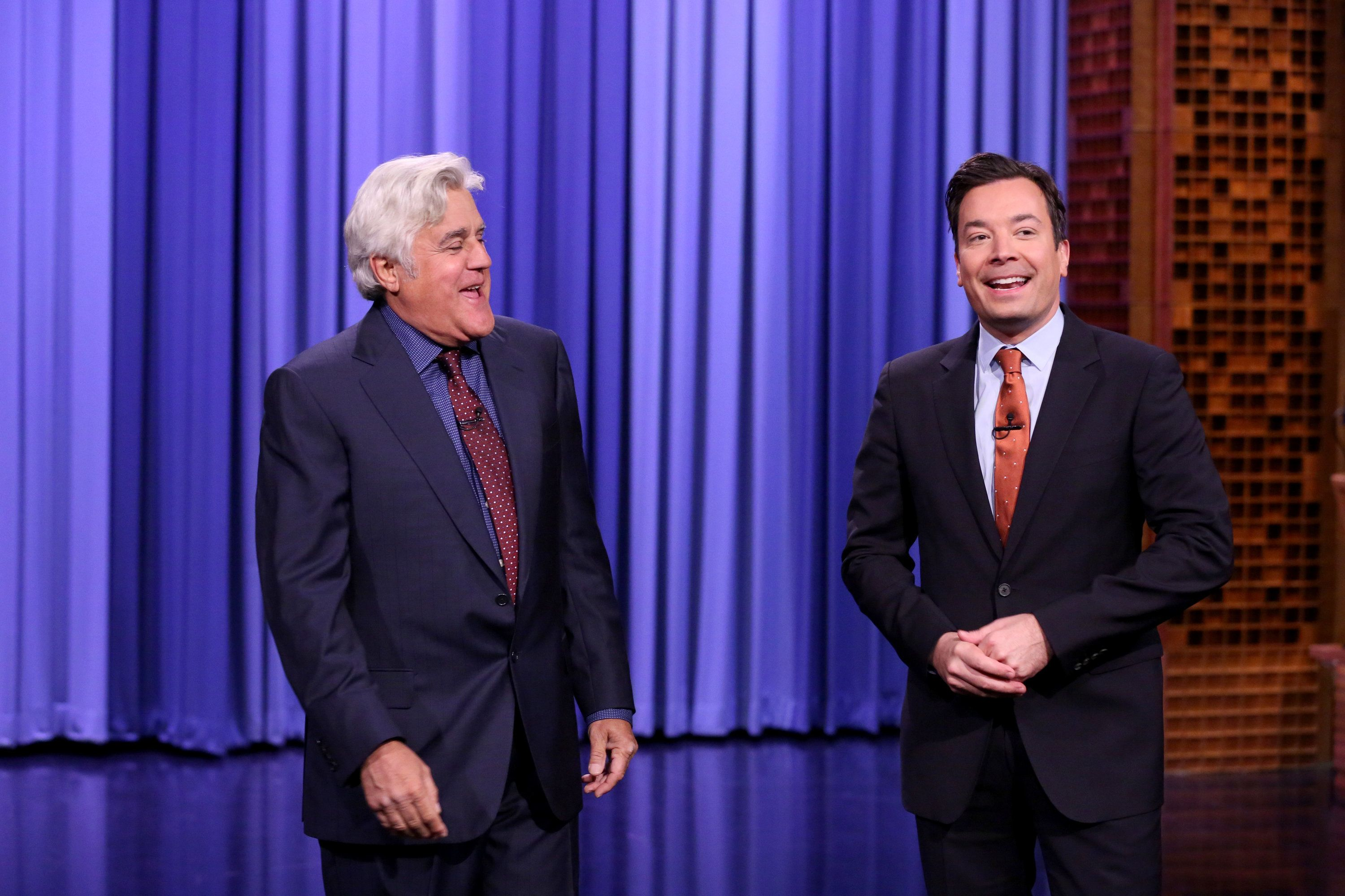 THE TONIGHT SHOW STARRING JIMMY FALLON -- Episode 0561 -- Pictured: (l-r) Comedian Jay Leno and host Jimmy Fallon during the opening monologue on October 31, 2016 -- (Photo by: Andrew Lipovsky/NBC/NBCU Photo Bank via Getty Images)