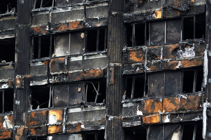 Damage to Grenfell Tower is seen following the catastrophic fire, in north Kensington, London, Britain, June 25, 2017.