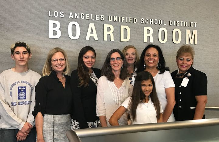 Advocates for students with dyslexia at the Los Angeles school board office. From left, Martin Valasquez, Mara Wiesen, Gabrie
