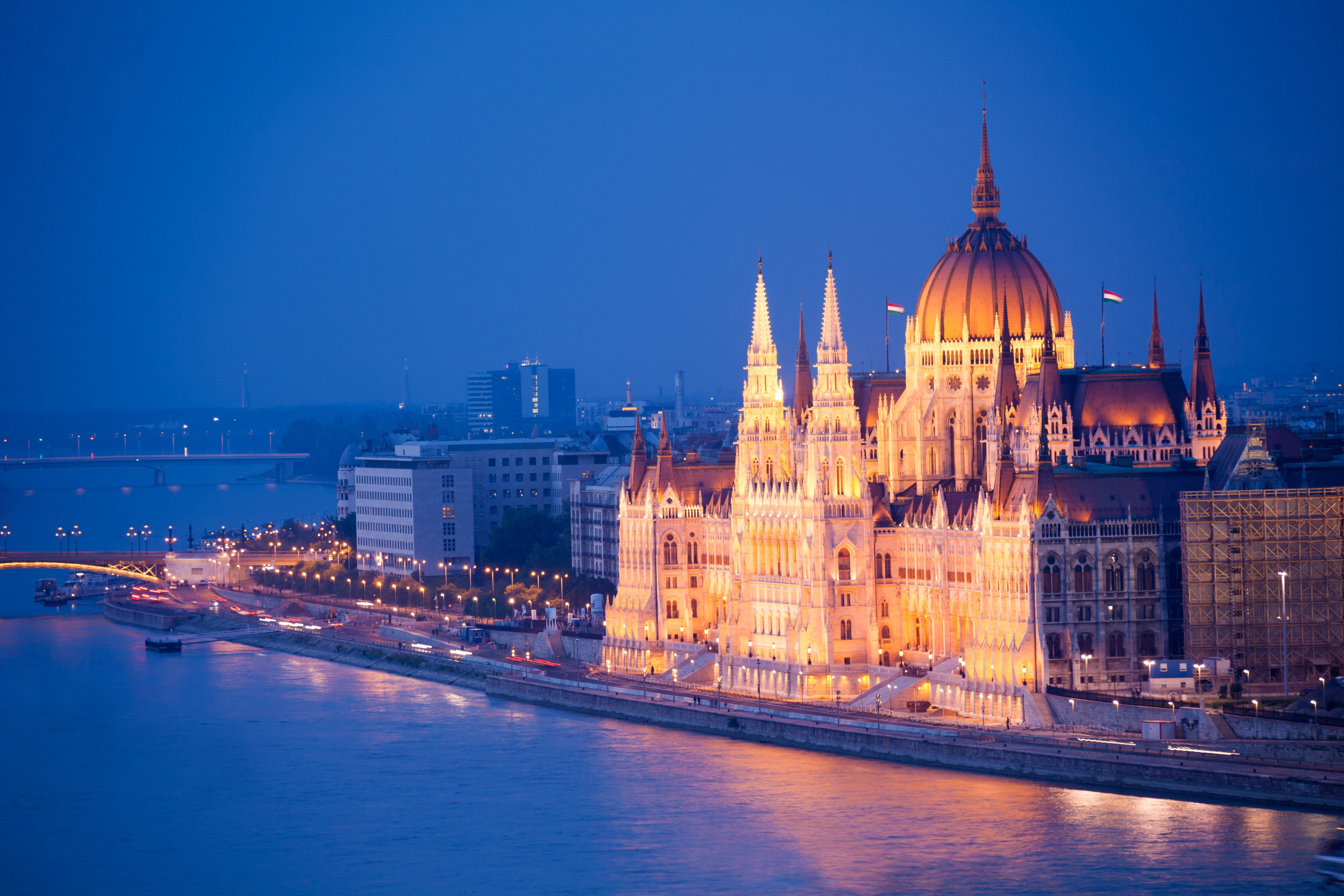Beautiful Parliament view in Budapest at night over the river Danube in night